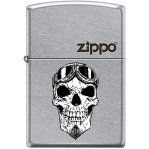 Zippo Lighter - Biker Skull With Logo Street Chrome