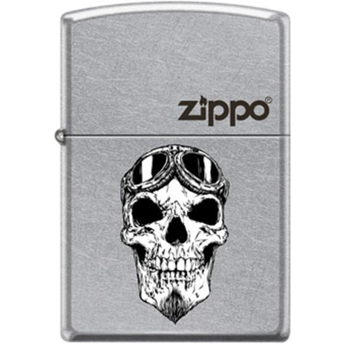 Zippo Lighter - Biker Skull With Logo Street Chrome Lighter Zippo - Lighter USA