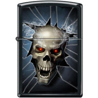 Zippo Lighter - Skull Broken Glass Black Matte Lighter Zippo - Lighter USA