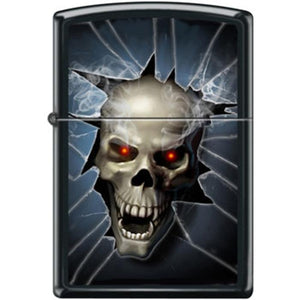 Zippo Lighter - Skull Broken Glass Black Matte