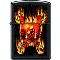 Zippo Lighter - Skull Flaming Wrenched Black Matte Lighter Zippo - Lighter USA