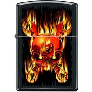 Zippo Lighter - Skull Flaming Wrenched Black Matte