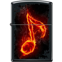 Zippo Lighter - Flaming Music Note Black Matte