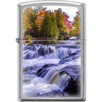 Zippo Lighter - River In Fall Street Chrome