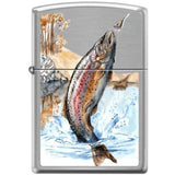 Zippo Lighter - Trout Brushed Chrome