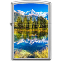 Zippo Lighter - Snow Capped Mountains Satin Chrome