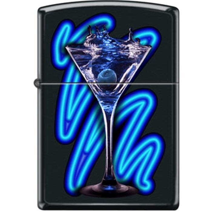 Zippo Lighter - Neon Martini Black Matte Lighter Zippo - Lighter USA
