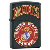 Zippo Lighter - Marines With Logo Black Matte
