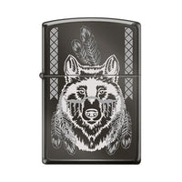 Zippo Lighter - Indian Wolf Black Ice Lighter Zippo - Lighter USA