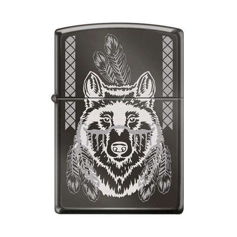 Zippo Lighter - Indian Wolf Black Ice