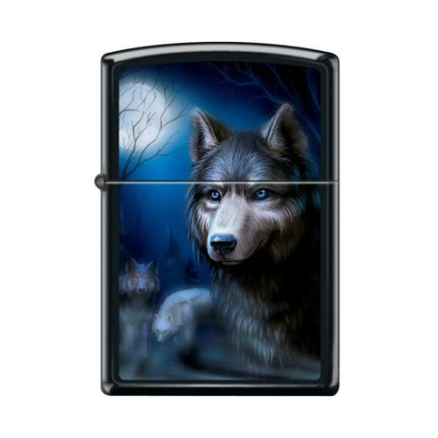 Zippo Lighter - Pack of Wolves Black Matte