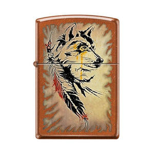 Zippo Lighter - Wolf with Feathers Toffee