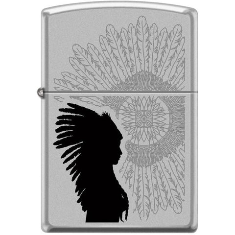 Zippo Lighter - Indian Woman Sunburst Satin Chrome