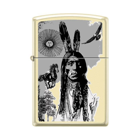 Zippo Lighter - Indian Portrait Creme Matte