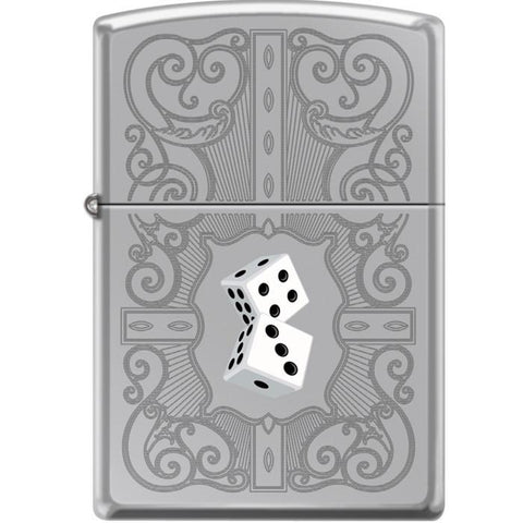 Zippo Lighter - Dazzling Dice In White High Polished Chrome
