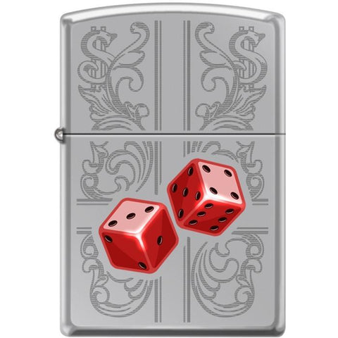 Zippo Lighter - Dazzling Dice In Red High Polished Chrome