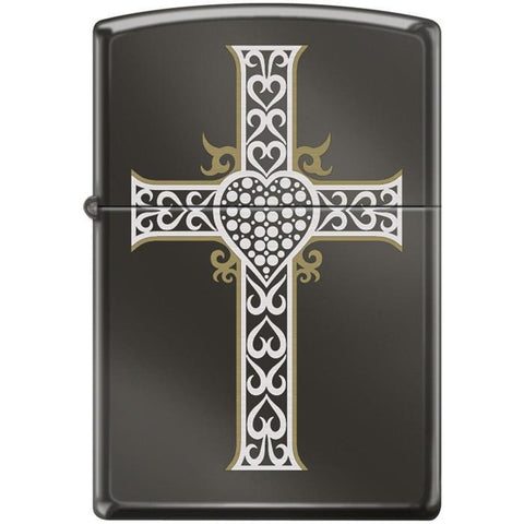 Zippo Lighter - Jewelry Heart & Cross Black Ice