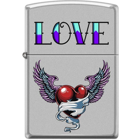 Zippo Lighter - Tattoo Heart Satin Chrome