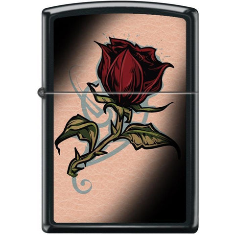 Zippo Lighter - Rose Tattoo Black Matte