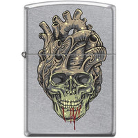 Zippo Lighter - Tattoo Skull Heart Street Chrome