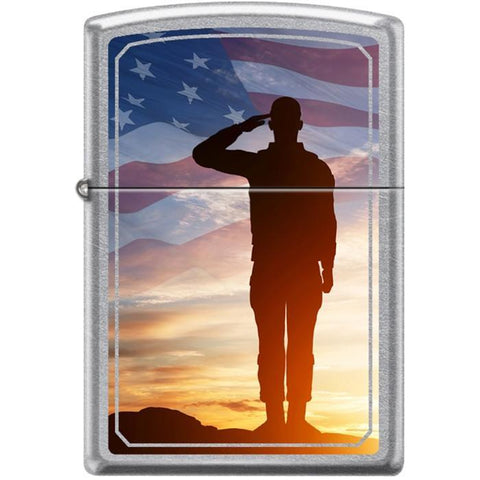 Zippo Lighter - Saluting Solider Street Chrome