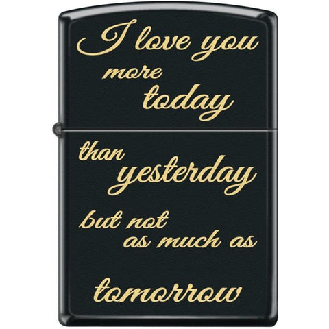 Zippo Lighter - I Love You More Today Black Matte