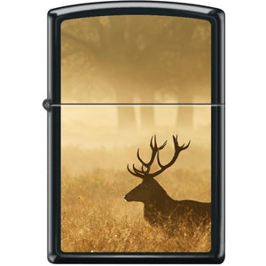 Zippo Lighter - Deer in Mist Black Matte