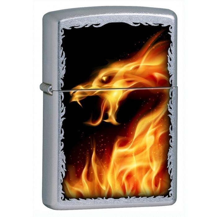 Zippo Lighter - Fire Dragon Street Chrome Lighter Zippo - Lighter USA