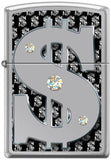 Zippo Lighter - Money w/ Swarovski Crystals High Polish Chrome