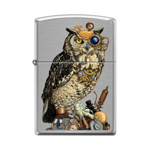 Zippo Lighter - Steampunk Owl Brushed Chrome