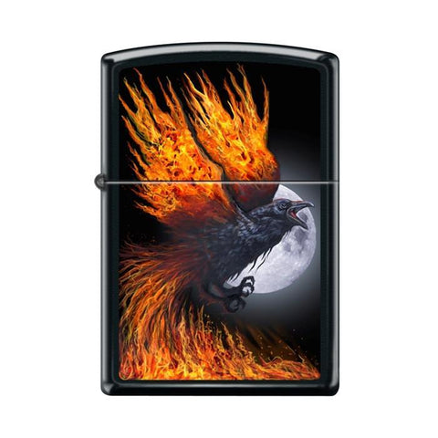 Zippo Lighter - Flaming Raven Black Matte