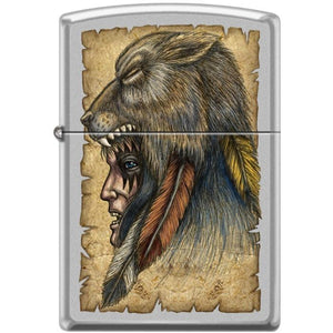 Zippo Lighter - Wolf Headdress Satin Chrome
