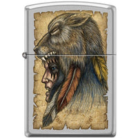Zippo Lighter - Wolf Headdress Satin Chrome Lighter Zippo - Lighter USA