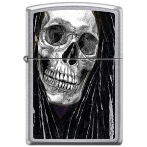 Zippo Lighter - Neal Taylor Skull Dreads Street Chrome