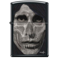 Zippo Lighter - Neal Taylor Skull Face Black Matte Lighter Zippo - Lighter USA