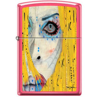 Zippo Lighter - Neal Taylor Painted Face Neon Pink - Lighter USA