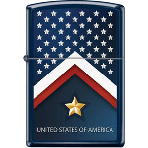 Zippo Lighter - Stars and Stripes Navy Matte