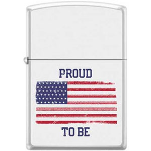 Zippo Lighter - Proud To Be American Flag White Matte