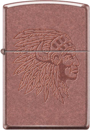 Zippo Lighter - Chief With Headdress Antique Copper