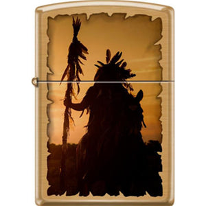 Zippo Lighter - Indian Silhouette Brushed Brass