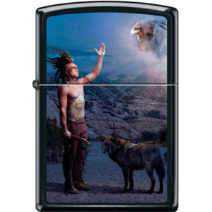 Zippo Lighter - Indian with Animals Black Matte
