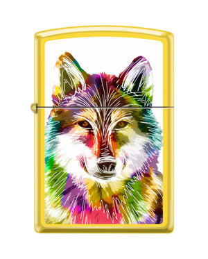 Zippo Lighter -Neon Multi-Color Wolf