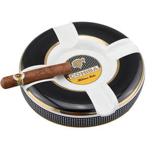 Cohiba Circle Ceramic Ashtray 4 Cigar Holder - Black - Lighter USA