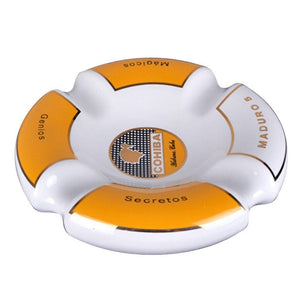 Cohiba Circle Ceramic Ashtray 4 Cigar Holder - White