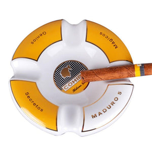 Cohiba Circle Ceramic Ashtray 4 Cigar Holder - White Ashtrays Cohiba - Lighter USA