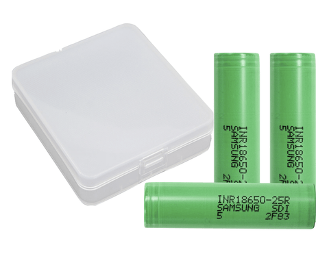 Samsung 18650 25R 2500mAh Lithium-ion Battery - 3 Pack + 4 Pack Case