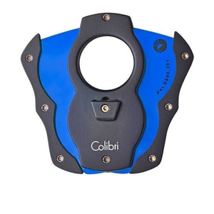 Colibri Cut Cigar Cutter - Black Rubber & Blue Blades - Lighter USA