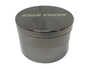 "Hush Crush 2.5"" 4-Piece Magnetized Herb Grinder - Gunmetal - Lighter USA"