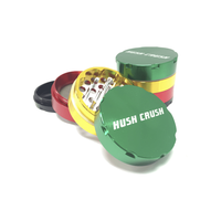 "Hush Crush 2"" 4-Piece Magnetized Herb Grinder - Rasta - Lighter USA - 1"