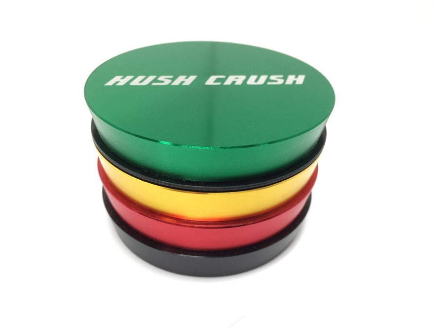 "Hush Crush 2.5"" 4-Piece Tiered-Towered Magnetized Herb Grinder - Rasta - Lighter USA"
